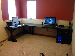 Gaming L Desk Noble Gaming L Desk For House Design Shaped Glass Top Setup