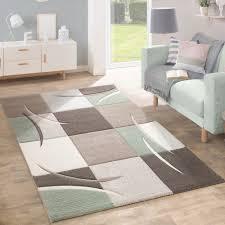 designer teppich designer teppich modern konturenschnitt pastellfarben mit karo