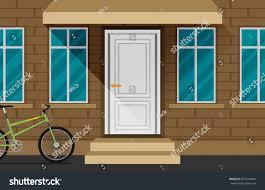 Front Door House Front Door House Exterior Flat Vector Stock Vector 697810684
