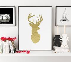 Deer Wall Decor Gold Print Deer Wall Decor Deer Print Deer Deer Art Deer
