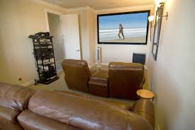 How To Decorate Home Theater Room Home Theater Room Design Ideas Big Screen On The Brown Wall