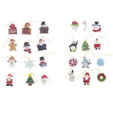 hanging miniature santa snowman snowflake resin tree