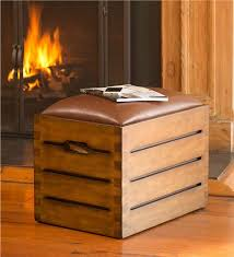 Wood Storage Ottoman Fireside Storage Ottoman With 35 Lbs Fatwood Plow Hearth