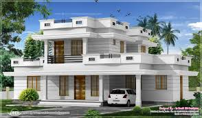 bed room flat roof villa courtyard kerala home building plans