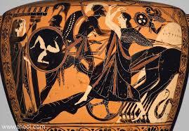 Greek Black Figure Vase Painting Achilles U0026 Body Of Hector Ancient Greek Vase Painting