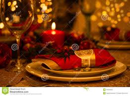 Gold Table Setting by Christmas Table Setting With Holiday Decorations Royalty Free