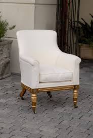 Upholstered Armchair by English Regency Upholstered Armchair With Painted And Gilt Wood