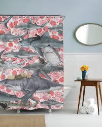 Fashion Shower Curtains Hunters Cat And Shark Shower Curtain U2013 Sharp Shirter
