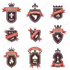 wappen designer vintage labels eingestellt logo schild mit band und krone wappen