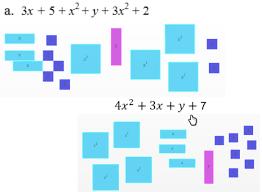 simplifying like terms using algebra tiles algebra videos cpm