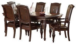 Traditional Dining Room Chairs Steve Silver Antoinette 7 Piece Leg Dining Room Set In Cherry