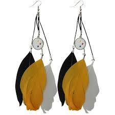 gifts for steelers fans pittsburgh steelers earrings pittsburgh steelers fan feather