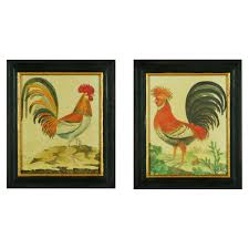 classic vintage rooster artwork portray with black wooden frames classic vintage rooster artwork portray with black wooden frames as traditional kitchen wall decorating ideas