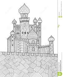 medieval castle coloring book for adults vector stock vector