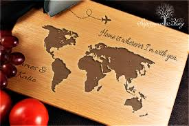 personalised cutting board world map personalised chopping board supernovabling