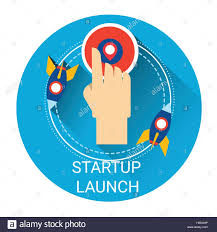 startup space rocket launch new strategy business icon stock
