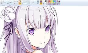 speedpaint draw anime on ms paint emilia youtube