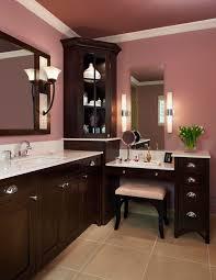 corner vanity cabinet bathroom transitional with bathroom light