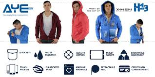 ayegear h13 hoodie with 13 pockets ipad or tablet pocket fleece