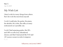 my wish list my wish list by g hello poetry