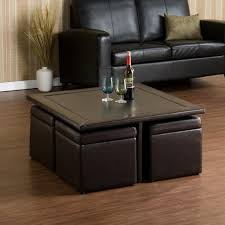 adorable square coffee table with storage cubes glass hammary