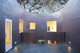exterior exterior modern brick paint house design with yard and