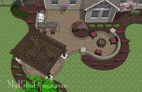 Patio Designs With Pergola by Large Paver Patio Design With Pergola And Grill Station Bar