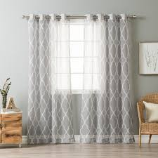 Sheer Gray Curtains Home Sheer Moroccan Grommet Top 84 Inch Curtain Panel Pair
