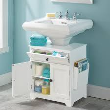 Sink Storage Bathroom The Pedestal Sink Storage Cabinet Hammacher Schlemmer