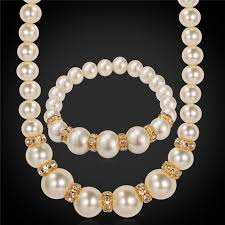 crystal pearl necklace set images Buy collare simulated pearl necklace set jewelry jpg
