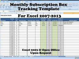 Tracking Spreadsheet Template Excel Monthly Subscription Box Tracking Template Product Of The