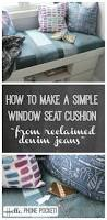 how to make a simple window seat cushion from reclaimed denim part 1 reclaimed denim jean