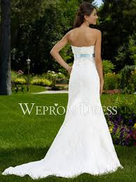 reviews backless sash lace white sweep train strapless scalloped