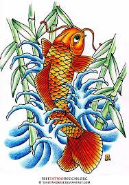 koi fish tattoo design with bamboo and waves i wish i had the