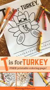 t is for turkey free printable coloring sheet mississippimom com