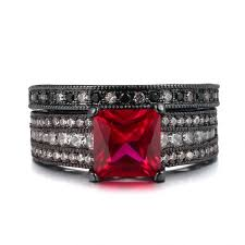 Black And Pink Wedding Rings by Princess Cut Rose Red Sapphire 925 Sterling Silver Black