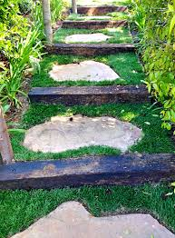 good choice for a grassy slippery slope flagstone steppers with