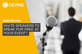 how do you invite speakers to speak for free at your event