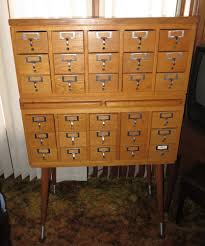 antique 30 drawer oak library card file cabinet 2 pull out