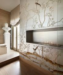 resin statues and bathroom transitional with stone floors black