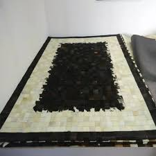 Patchwork Area Rug Black Ivory Brown Cow Hide Patchwork Area Rug Original
