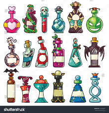 set magic potion bottles set great stock vector 317640467