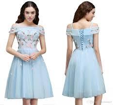 pretty graduation dresses pretty light sky blue shoulder 2017 homecoming dresses