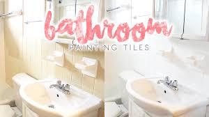 bathroom makeover how to paint bathroom tiles youtube