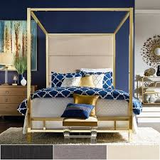 Metal Canopy Bed Evie Gold Metal Canopy Bed With Linen Panel Headboard By Inspire Q
