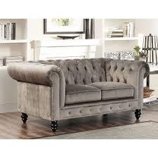 abbyson living grand chesterfield grey velvet loveseat grey
