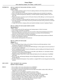 assistant manager resume retail assistant manager resume sles velvet