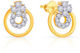 malabar earrings malabar gold and diamonds 15cz9122 18 k diamond yellow gold stud