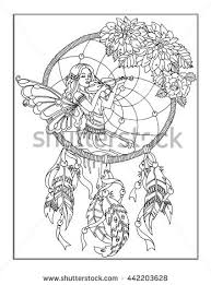 coloring enchanted fairy stock illustration 442203649