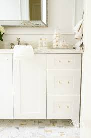 glam transitional guest bathroom reveal with marble silver and